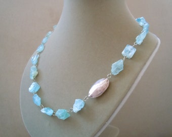 Catalonia -- One of a Kind -- Aquamarine Raw Nugget and Sterling Silver Hammered Bead Necklace