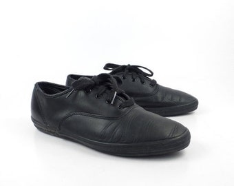 Black Leather Keds Sneakers Vintage 1990s Shoes Women's size 8