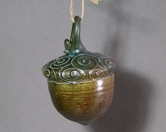 Ceramic Acorn ornament, green, gifts under 50
