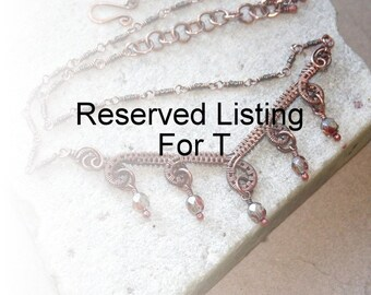 Reserved Listing For T, Antique Copper Pink Grey Wire Wrapped Necklace, Contemporary, Wire Jewelry, Gift For Her, Canada