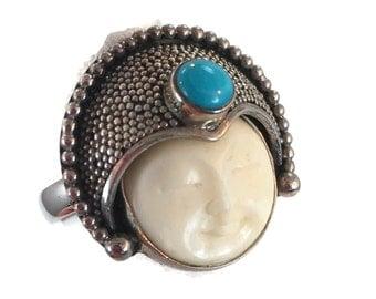 Goddess Ring, Princess Face, Carved Bone, Moon, Turquoise, Sterling Silver, Vintage Ring, Statement, Size 9, Bali, Boho Bohemian, Ethnic