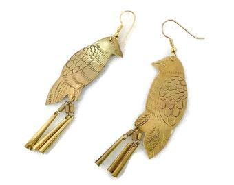 Bird Earrings, Brass Earrings, Pierced Earrings, Vintage Jewelry, Dangles, Pierced, Large, Massive, Lightweight, Boho Statement, Hippie, NOS
