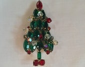 Vintage Rhinestone Christmas Tree Pin or Brooch by Jezlaine