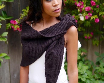 Brown Chunky Shawl, Handmade Shawl, Knitted Shawl, Women's Scarf