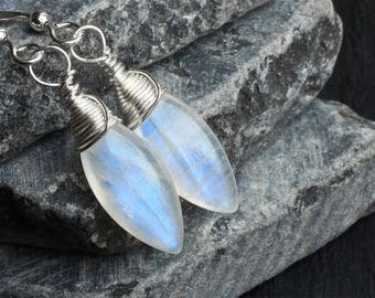 "Rainbow Moonstone Earrings, Sterling Silver - ""Moondrops"" by CircesHouse on Etsy"