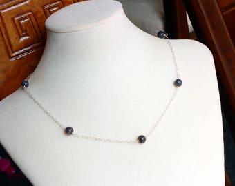 Blue Labradorite Necklace - Spectrolite Necklace - Sterling Silver Necklace - Handmade - Natural - Labradorite Jewelry