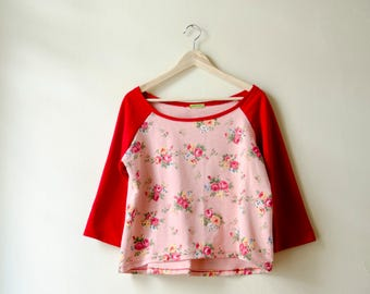 Floral Sweatwhirt,Pink Red Flower Print Sweater, Off Shoulder Top Asymmetrical Hem Hi-low Shirt
