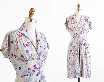 vintage 1940s dress / 40s dress / Butterfly Novelty Print Day Dress