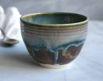 Earthy Green and Brown Yunomi Cup Handcrafted Stoneware Teacup Ceramic Pottery Ready to Ship Made in USA