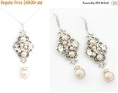 Wedding Jeweley Set, Pearl Bridal Necklace Earrings, Crystal Wedding Necklace SET, Swarovski Necklace and Earring Set, Vintage Style Jewelry