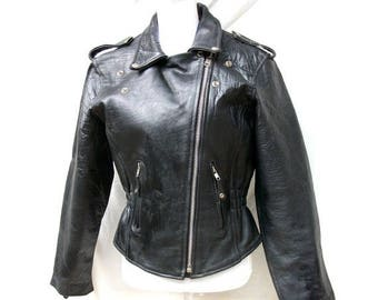 ON SALE 80s Black Leather Biker Jacket size Small Medium Zippers Studs Moto Leather Club