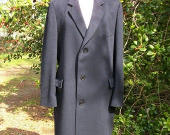 ON SALE 80s Navy Cashmere Coat Mens size Medium Large Yves Saint Laurent B Altman Overcoat 42 Chest