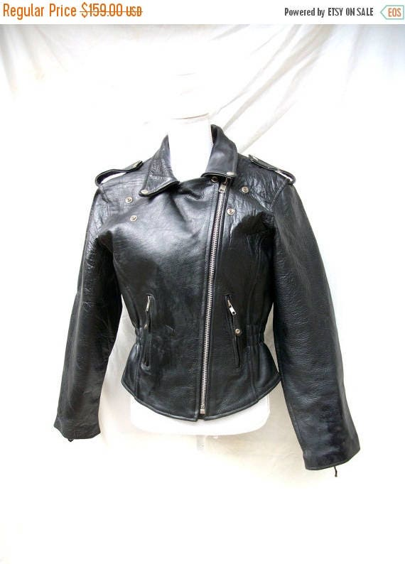 ON SALE 80s Black Leather Biker Jacket size Small Medium Zippers Studs Moto Leather Club