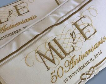 embroidery silver golden anniversary pillows bodas de oro o plata satin wedding something blue padrino madrina de cojines