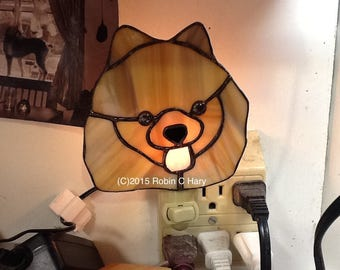 Pomeranian Night Light in Stained Glass