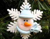 Snowman Christmas Ornament, Snowflake Christmas Ornament, Holiday Ornament, Package Decoration, Whimsical, The Critter Company, Light Blue