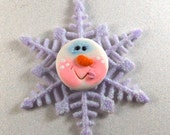 Purple Whimsical Snowman/Snowflake Christmas Ornament, Package Decoration