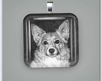 Pembroke Corgi Dog Glass Pendant