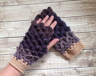 Brown Fingerless Winter Gloves, Dragon Scale Gloves