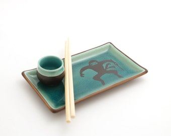 Ninja sushi set - set of TWO plates cups and chopsticks - great wedding gift - gifts under 50 - gift for couple - sushi - sushi lover -ooak