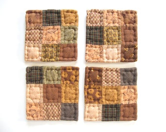 Fabric Coasters Quilted Mug Mats Quilted Coasters Rustic Home Decor Brown Country Home Decor Primitive Country Decor Farmhouse Decor
