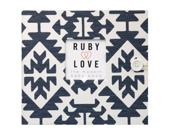 BABY BOOK | Navy Pawnee Tribal Baby Book | Ruby Love Modern Baby Memory Book