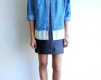 35% OFF SPRING SALE Ombre Light Wash Shirt with Pockets