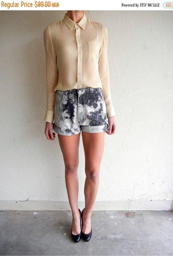35% OFF SPRING SALE Black Marbled Jean Shorts