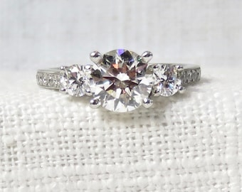 Stunning 2.31 Carat Three Diamond Platinum Engagement Ring GIA Appraised at 19,690.00