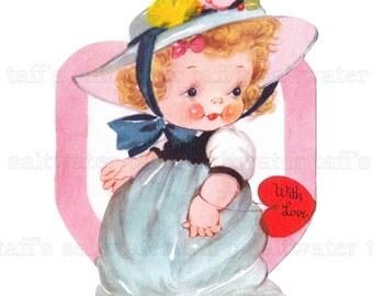 Valentine Girl With Heart PNG No Background and JPG Digital Download vintage card valentine girl pink greeting invitation DIY