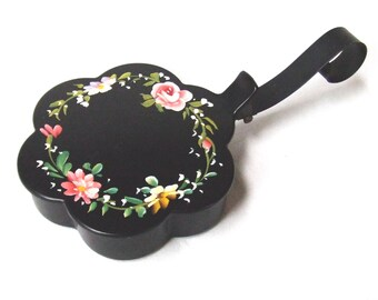 Plymouth Tole Crumb Catcher Silent Butler Black Vintage