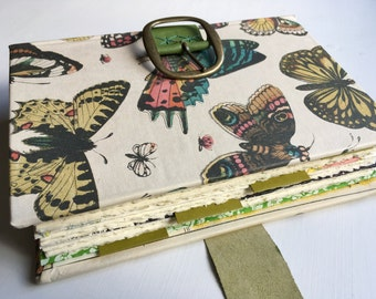 Deluxe Garden Journal, blank cotton pages and 4 full-size pockets, vintage butterfly, insect, vegetable prints, leather strap & buckle