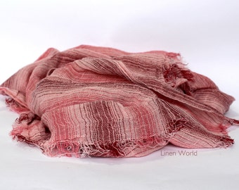 Pure LINEN Scarf. Red Pink Striped Linen Scarf. Woman Scarf Man Scarf. Natural Flax Scarf. Organic Birthday Gift. Spring scarf, summer scarf