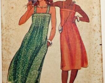 Vintage 1980s, Sewing Pattern, Butterick 5355, Misses' Dress, Misses' Size 10, Sundress