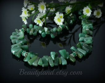 Green Aventurine Necklace Green Stone Gemstone Statement Necklace for Women Birthday gift Women  Energy Necklace Beauty Gift Clothing Gift