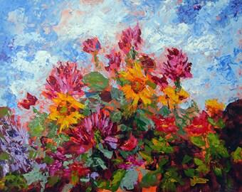 Painting Flowers, Original Painting, Flowers, Garden Art, Home Decor, Wall Art, Wall Decor,