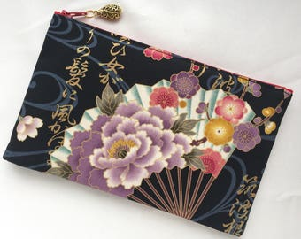Japanese Folding Fan Zipper Pouch/ Cosmetic Pouch
