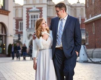 Wedding Bolero 100% angora rabbit Kate Middleton Sweater handknit v-neck No buttons LONG SLEEVES crop/bridal bolero/Black/White/Ivory