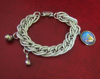 Vintage Chain Link Charm Bracelet with Bowling League Charms, Made in Germany