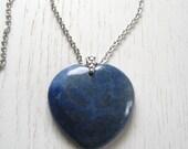 Large Heart Shaped Lapis Lazuli Pendant Necklace