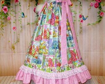 Girls 5/6 Dress Pink Blue Spring Script Flower Squares Pillowcase Dress, Pillow Case Dress, Sundress