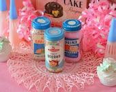 VINTAGE KITCHEN DECOR, 3 darling vintage cake cupcake sprinkles bottles with fun kitsch graphics!
