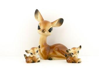 Vintage Plastic Deer Family CHRISTMAS Display Miniature Fawn THREE Figurines