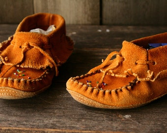 Tan Leather Moccasins Bohemian Fashion With Beading and Fringe Size 5.5 Vintage From Nowvintage on Etsy