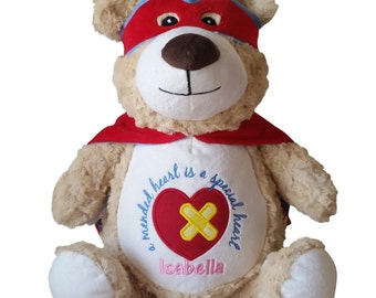 Peronalized Child CHD Heart Warrior Stuffed Bear, Heart Hero Custom Embroidered Teddy Bear