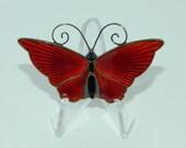 Vintage David Andersen Signed Sterling Enamel Butterfly Brooch
