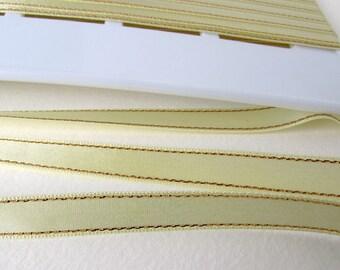 Vintage Satin Ribbon Light Yellow Gold Metallic Trim Scrapbooking Japan 3/8 inch rib0239 (2 yards)