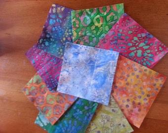 "Collection of 54 Batik  Jewel Tone Fabric Squares  5"" x 5"""