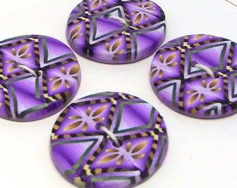 Handmade Buttons Purple pattern 22mm