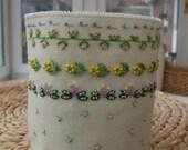 Cream Felt Hand Embroidered Dressing Table / Craft Tidy or Organiser